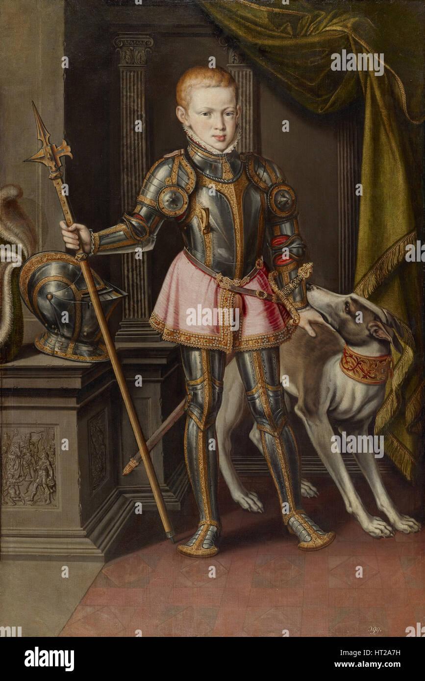 King Sebastian I of Portugal, ca 1562. Artist: Sánchez Coello, Alonso (1531-1588) - Stock Image