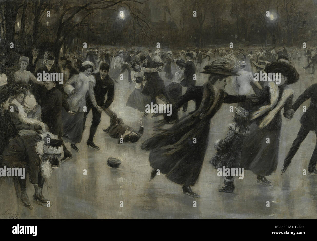 Party on the Ice, 1909. Artist: Gause, Wilhelm (1853-1916) - Stock Image