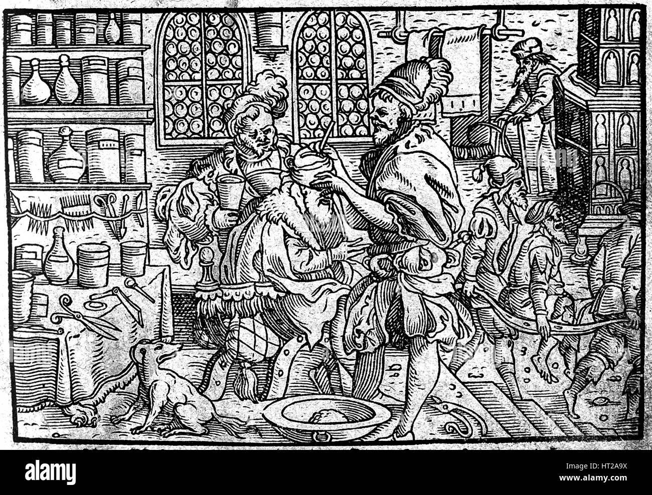 Operation on a man's head. From: Die große Wundarzney by Theophrastus Bombastus von Hohenheim, 1562. Artist: - Stock Image