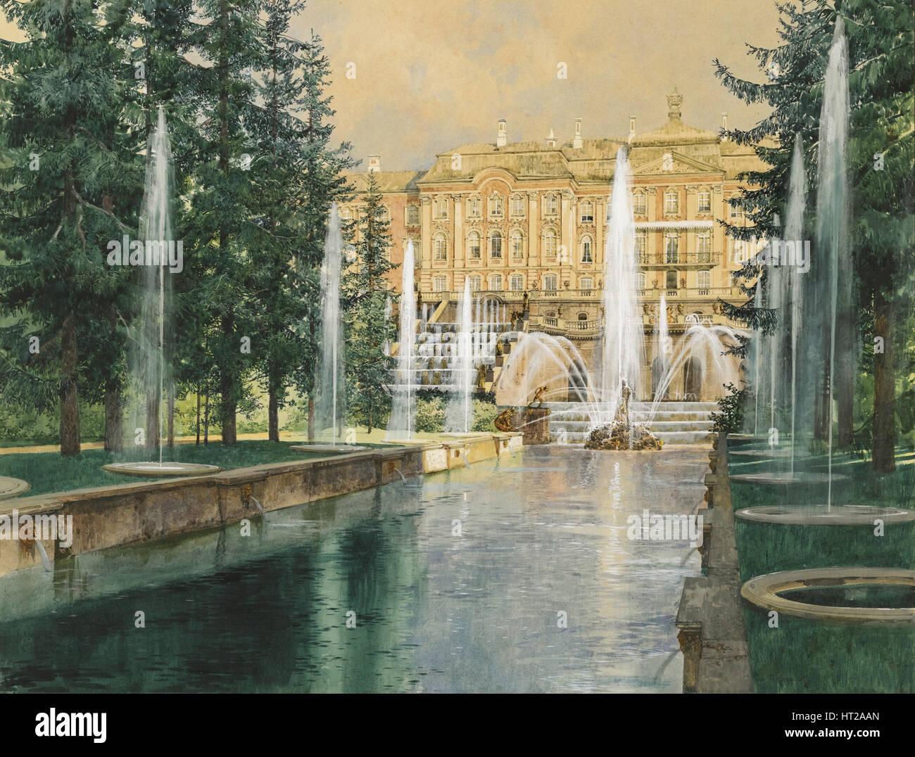 Peterhof, 1898. Artist: Kopallik, Franz (1860-1931) - Stock Image