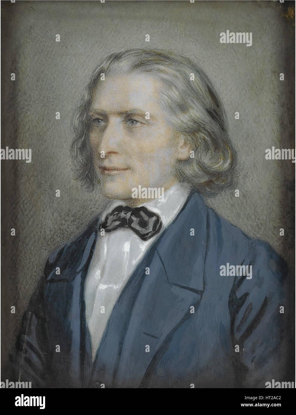 Portrait of Franz Liszt (1811-1886), 1856. Artist: Kriehuber, Josef (1800-1876) - Stock Image