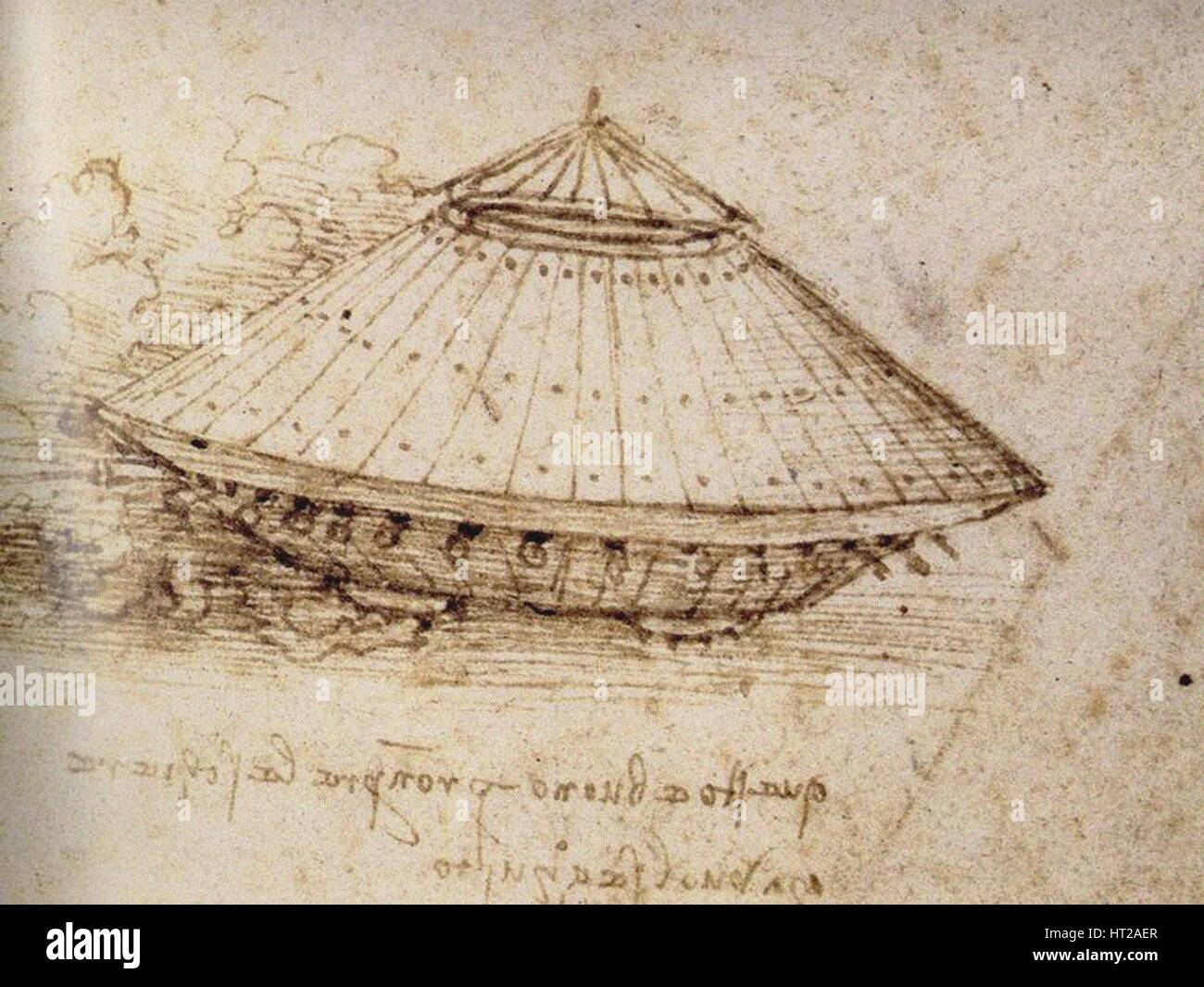Drawing of an armoured tank, ca 1485. Artist: Leonardo da Vinci (1452-1519) - Stock Image