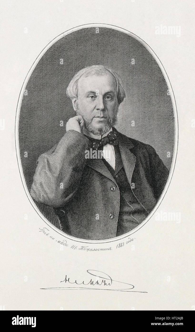 Portrait of Nikolay Alexeyevich Milyutin (1818-1872), 1883. Artist: Pozhalostin, Ivan Petrovich (1837-1909) - Stock Image