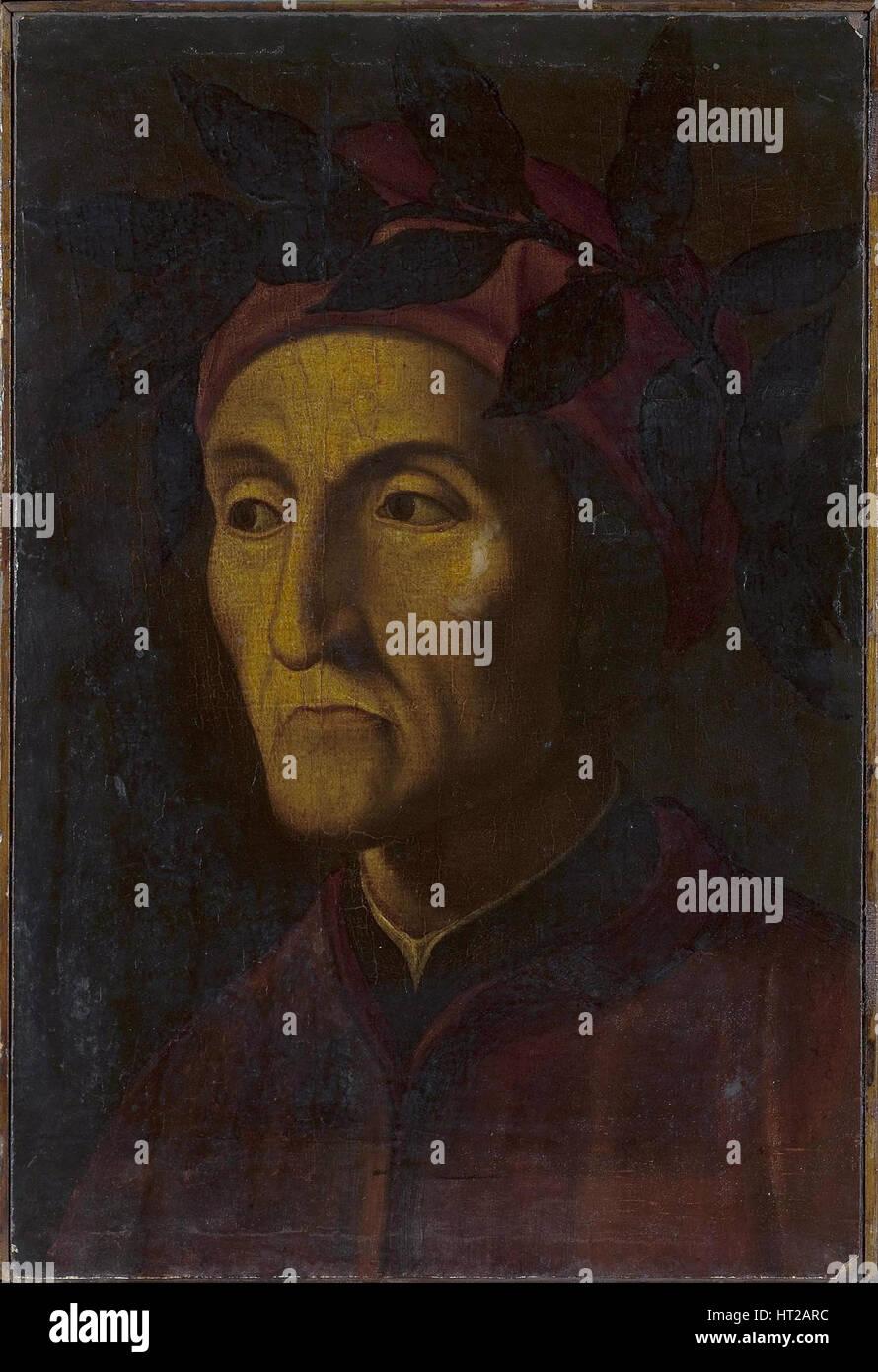Portrait of Dante Alighieri (1265-1321), 16th century. Artist: Anonymous - Stock Image