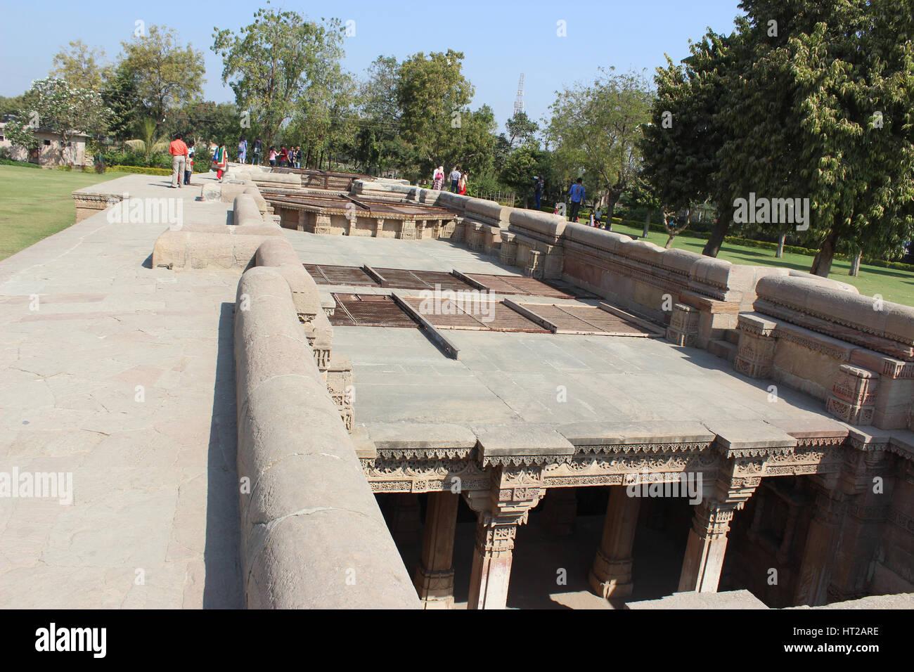 The top area above Adalaj Step Well, Ahmedabad, Gujarat, India - Stock Image