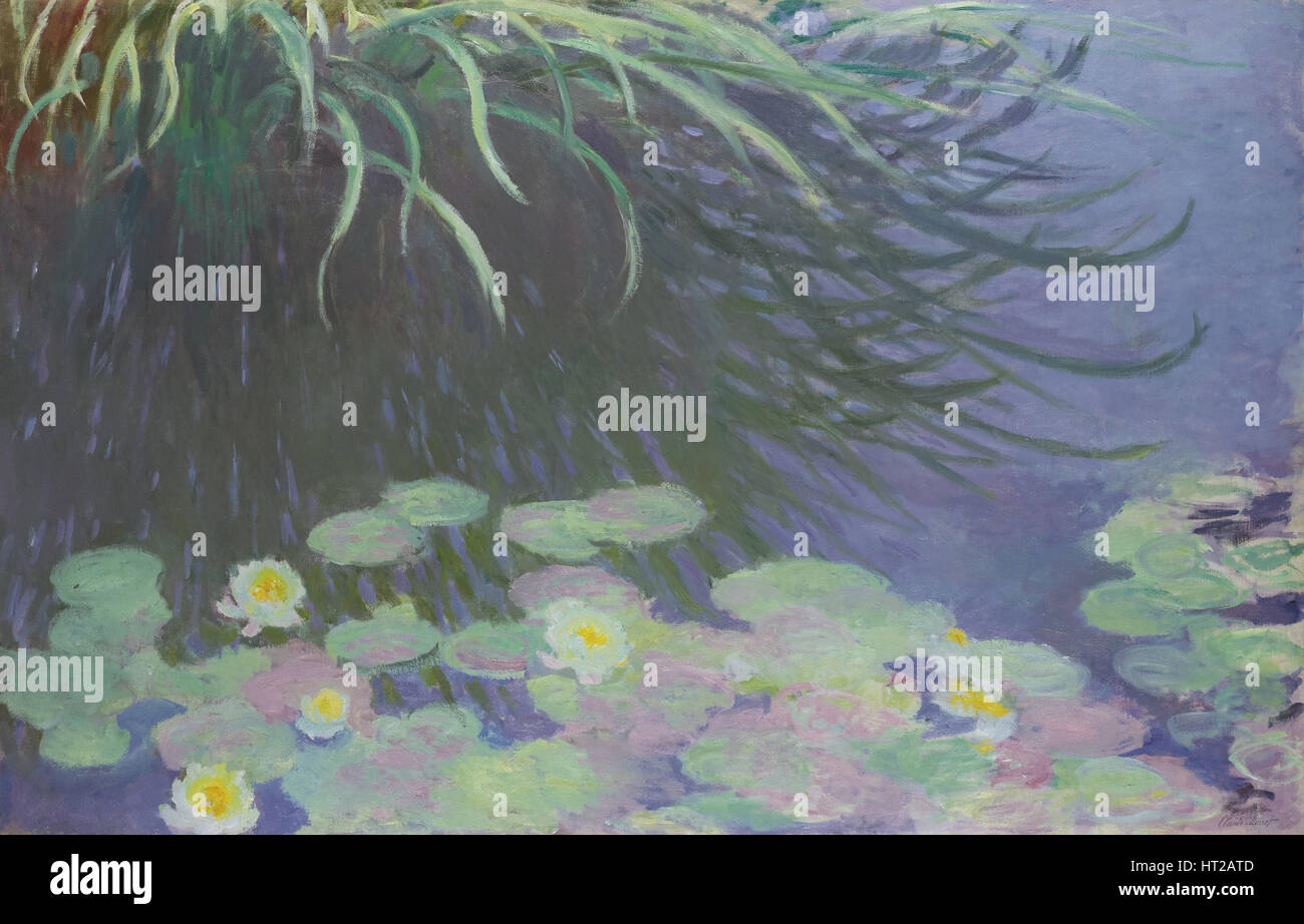 Water Lilies with Reflections of Tall Grass, 1914-1917. Artist: Monet, Claude (1840-1926) - Stock Image