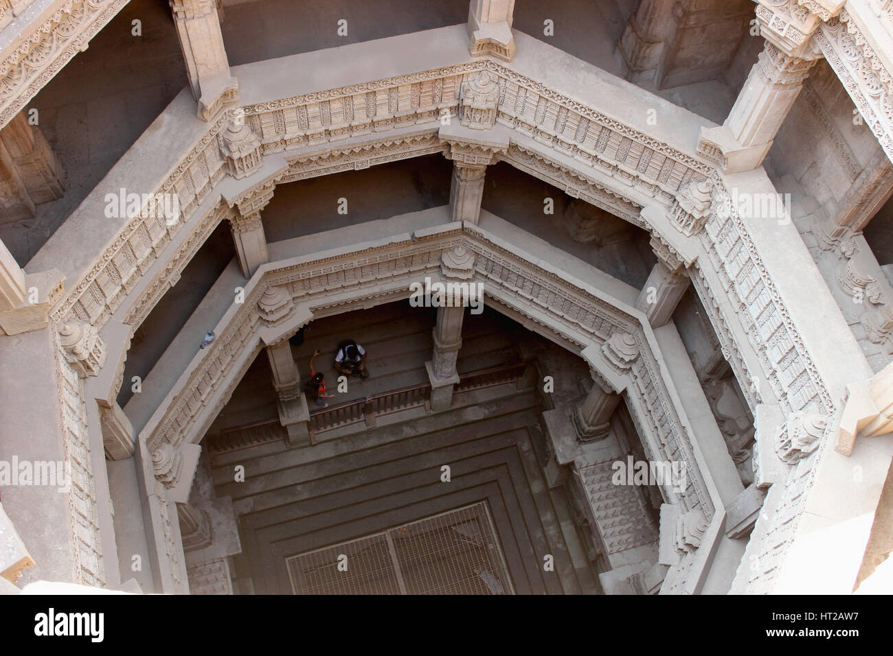 View inside the Adalaj step well from the top. Traditional trabeat with horizontal beams and lintels. Adalaj Step - Stock Image