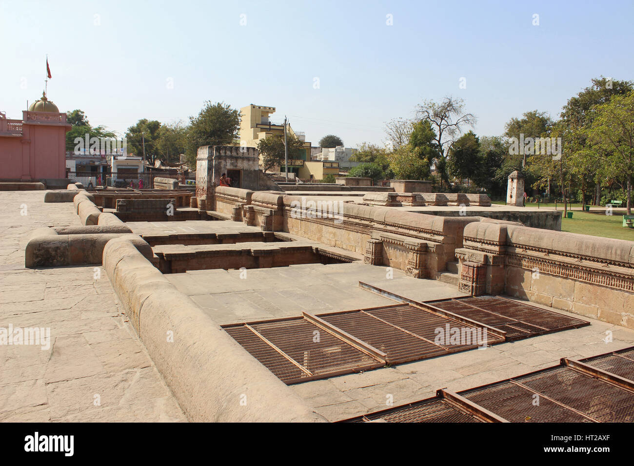 The top area above Adalaj Step Well, Ahmedabad, Gujarat, India Stock Photo