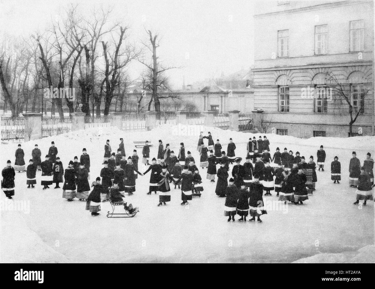 Pupils of the Smolny Institute for Noble Maidens at at Winter Walk, c. 1913. Artist: Bulla, Karl Karlovich (1853 - Stock Image