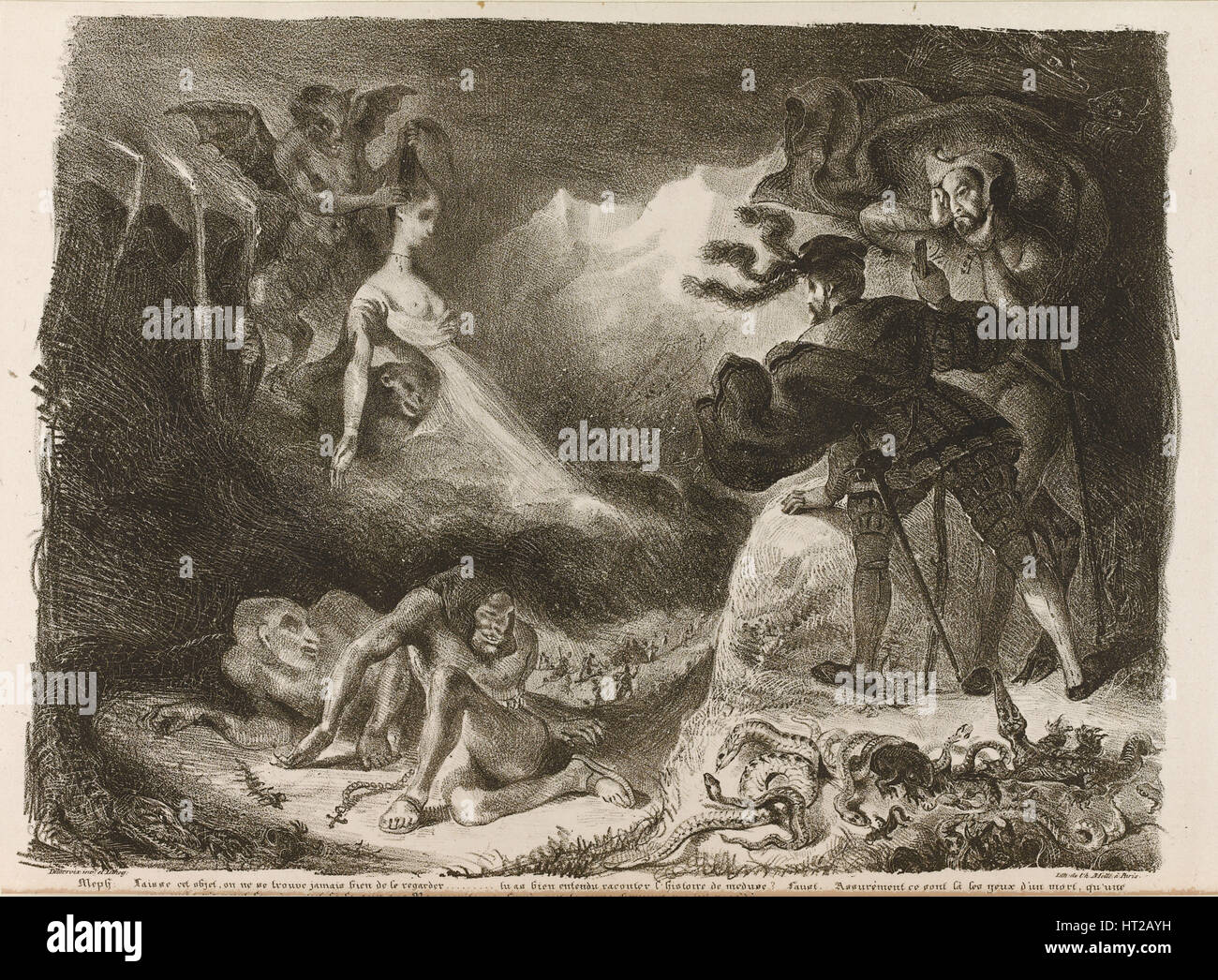 Illustration to Goethe's Faust, 1828. Artist: Delacroix, Eugène (1798-1863) - Stock Image