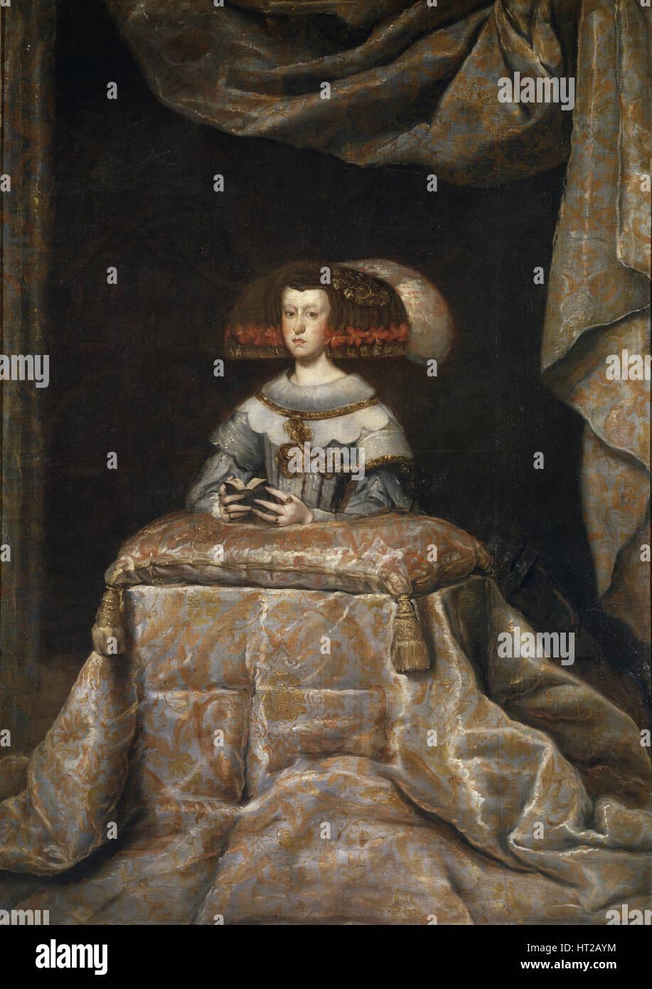 Portrait of Mariana of Austria (1634?1696), praying, c. 1655. Artist: Velàzquez, Diego (1599-1660) - Stock Image