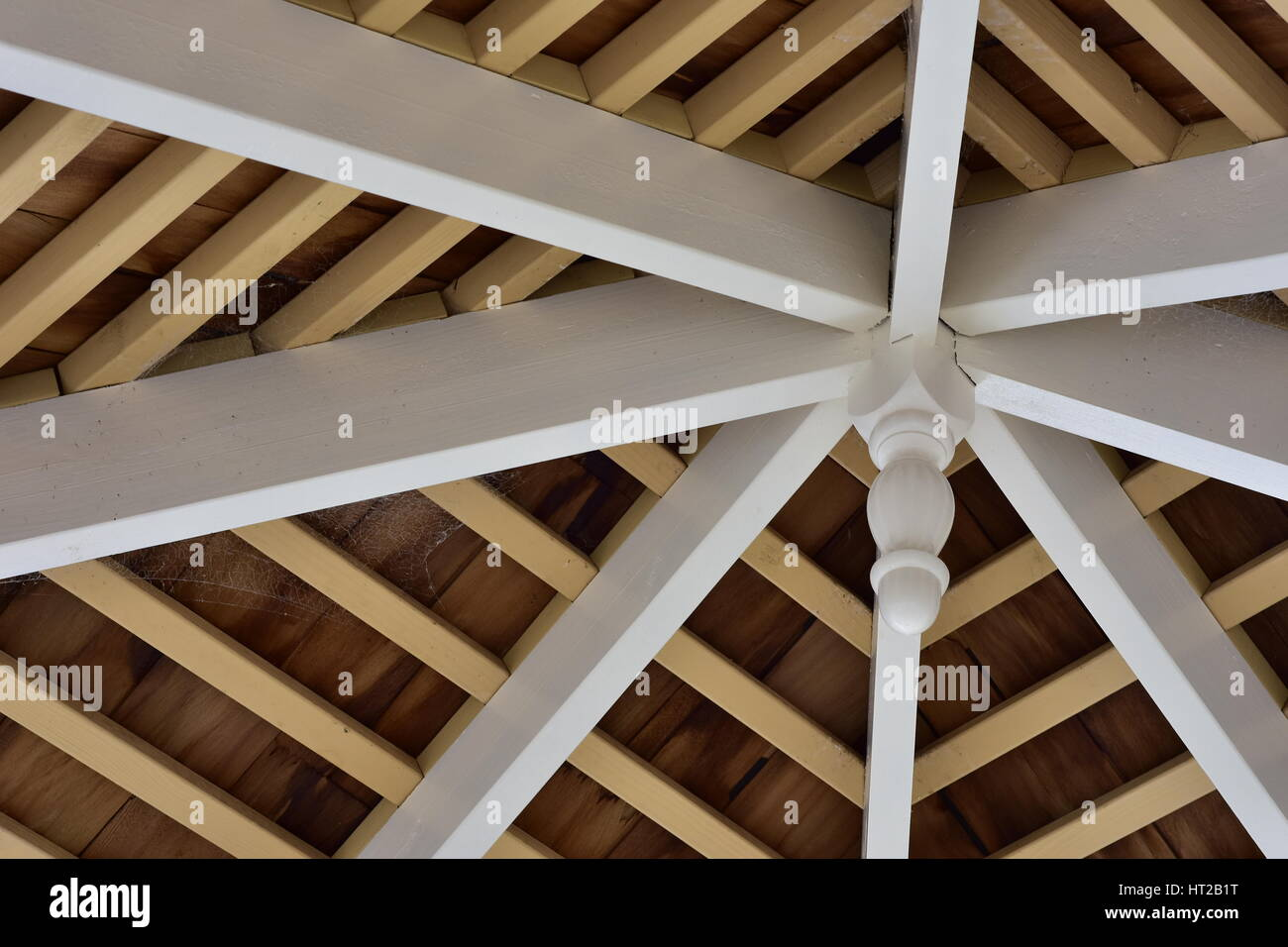 Rustic wooden ceiling showing horizontal beams and rows of wooden shingle. Stock Photo