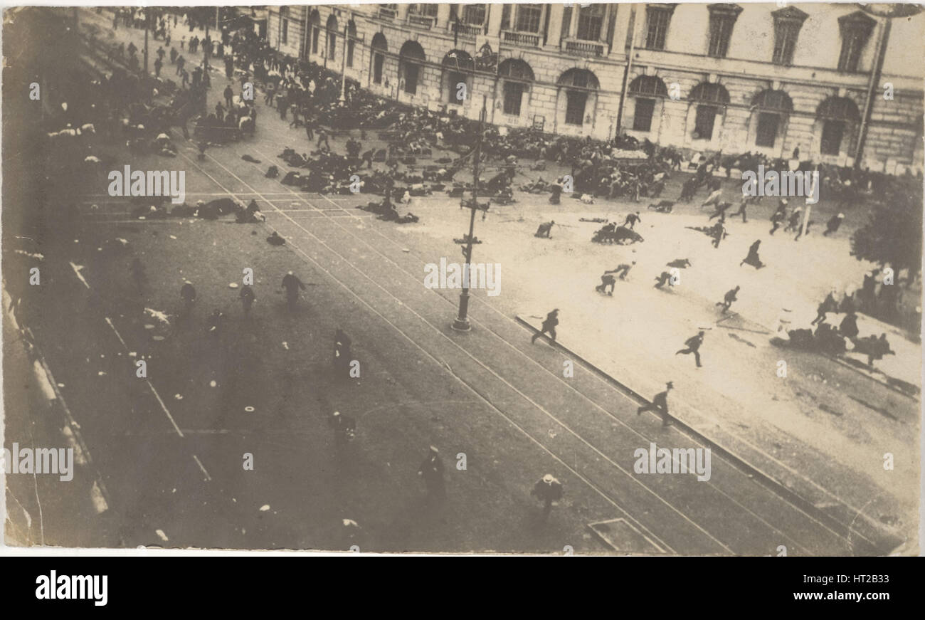 Government Troops Firing on Demonstrators, July 4, 1917, 1917. Artist: Bulla, Karl Karlovich (1853-1929) - Stock Image