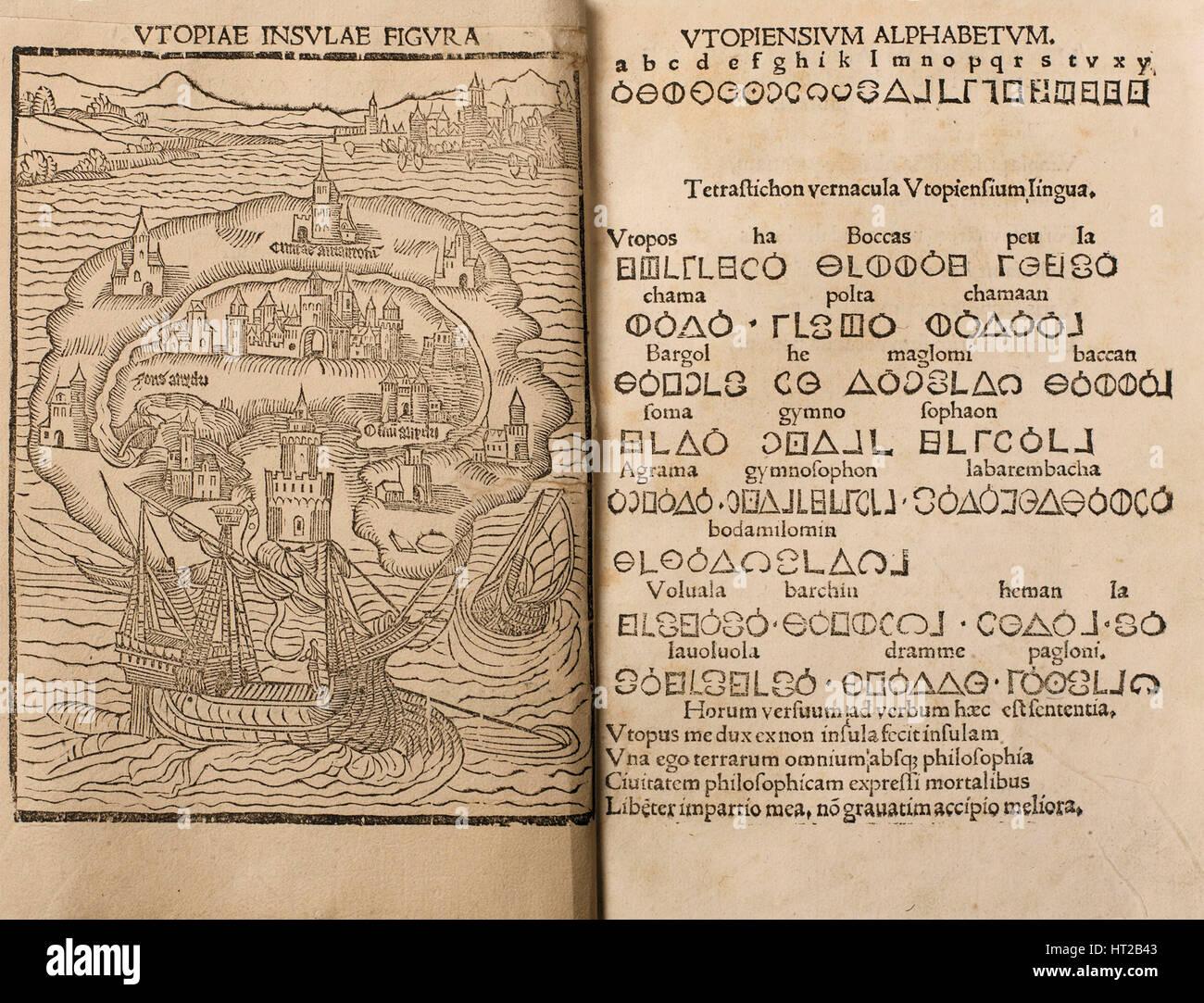 Utopia by Thomas More, 1516. Artist: Anonymous - Stock Image