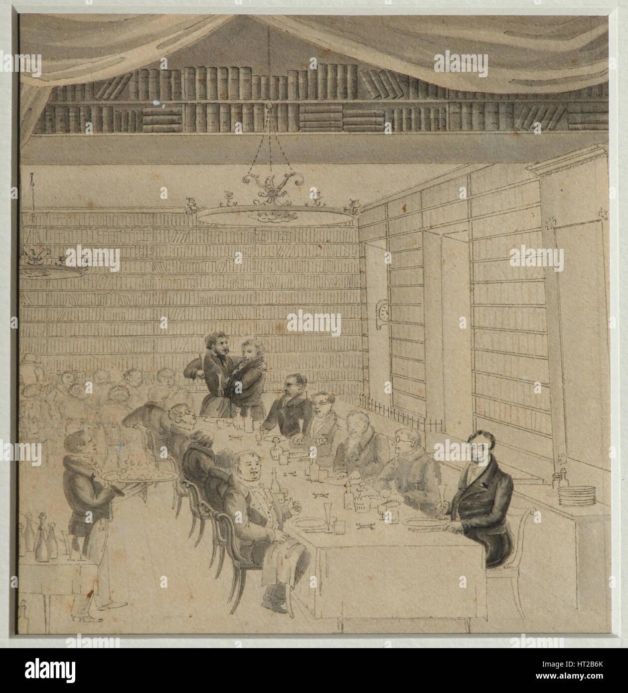 Literary Feasting in the bookstore of Aleksander Smirdin, 1832. Artist: Briullov, Alexander Pavlovich (1798-1877) - Stock Image