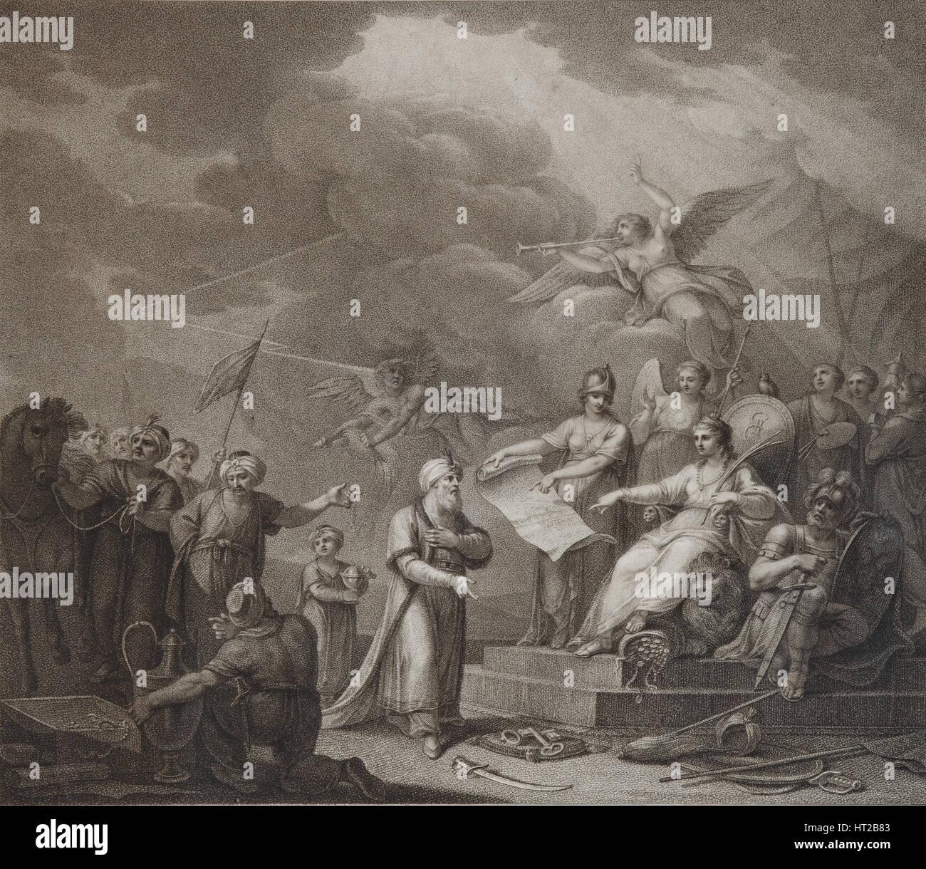 Allegory of the Treaty of Jassy, 1792. Artist: Stephanoff (Fileter Stefanof), Stepan (active 1770s-1810s) - Stock Image
