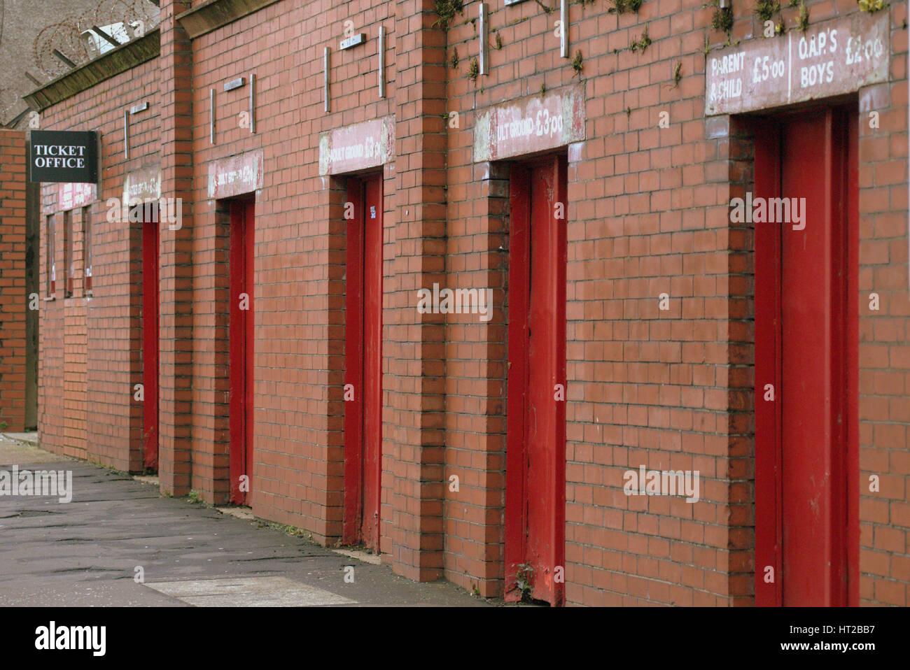 partick thistle football club vintage turnstiles - Stock Image