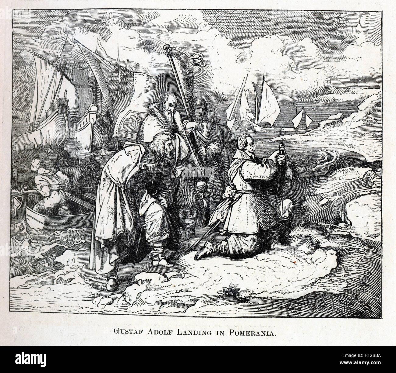 Gustav Adolf Landing in Pomerania, 1882. Artist: Anonymous - Stock Image
