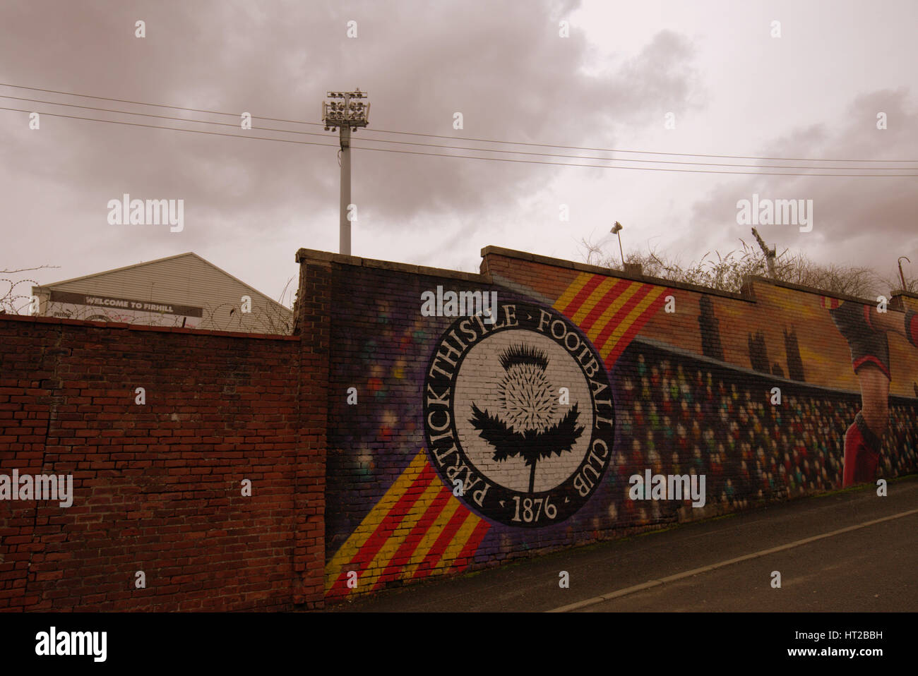partick thistle football club mural maryhill - Stock Image