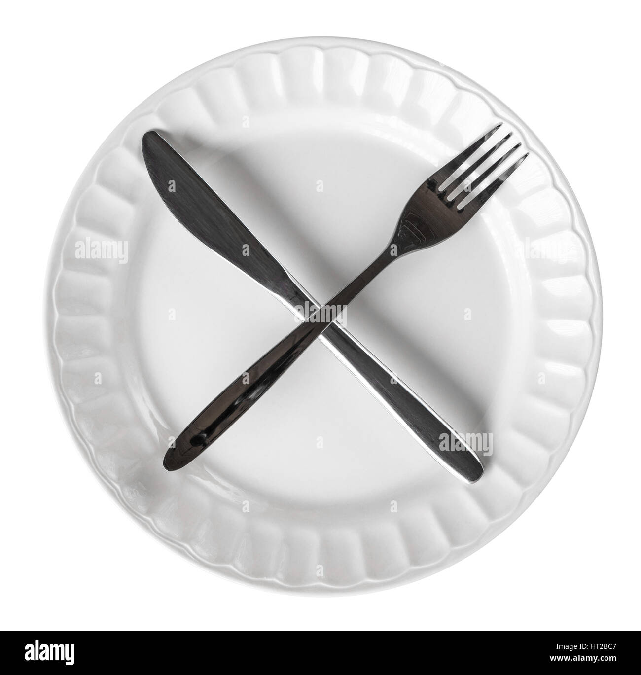 Intermittent Fasting Concept With Knife And Fork Showing Cross