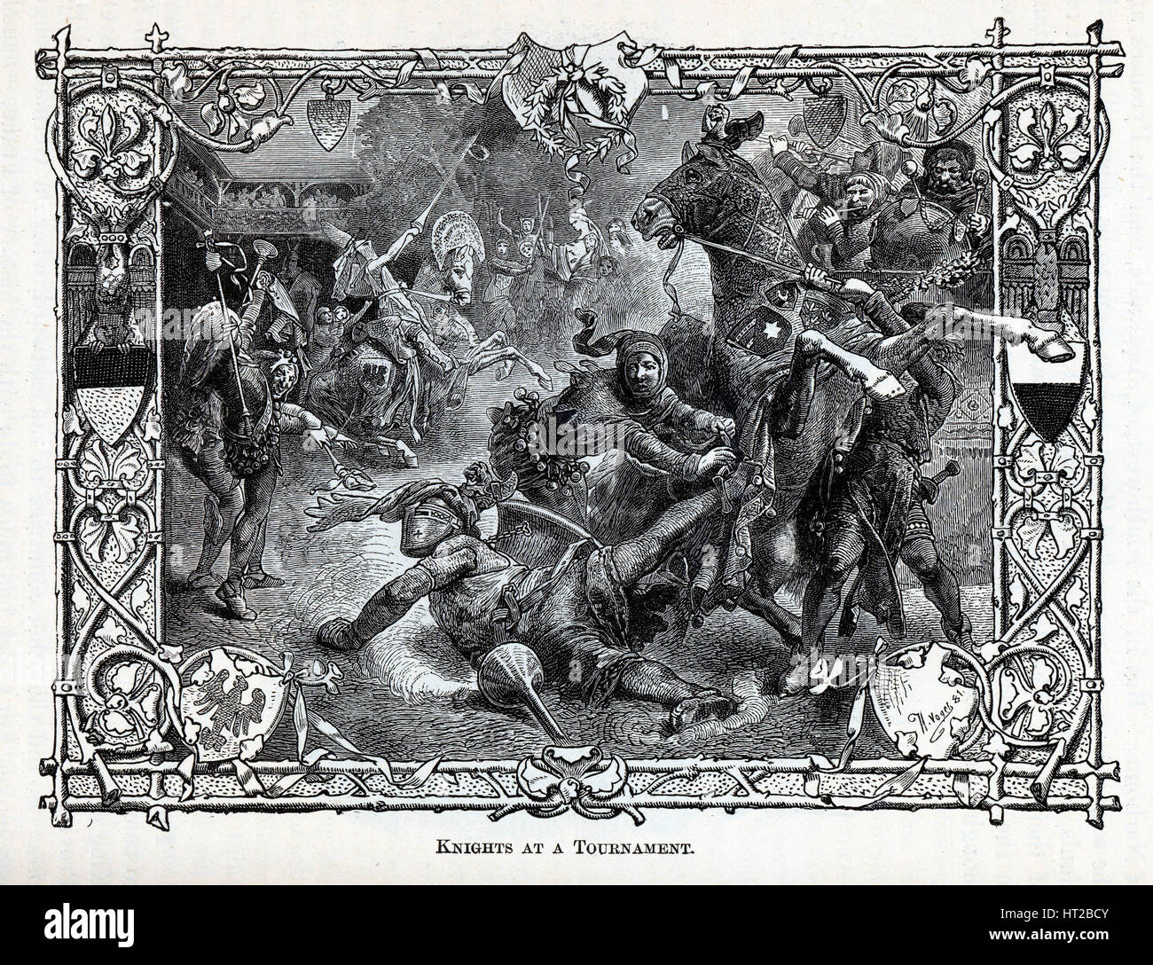 Knights at a Tournament, 1881. Artist: Vogel, Hermann (1854-1921) - Stock Image