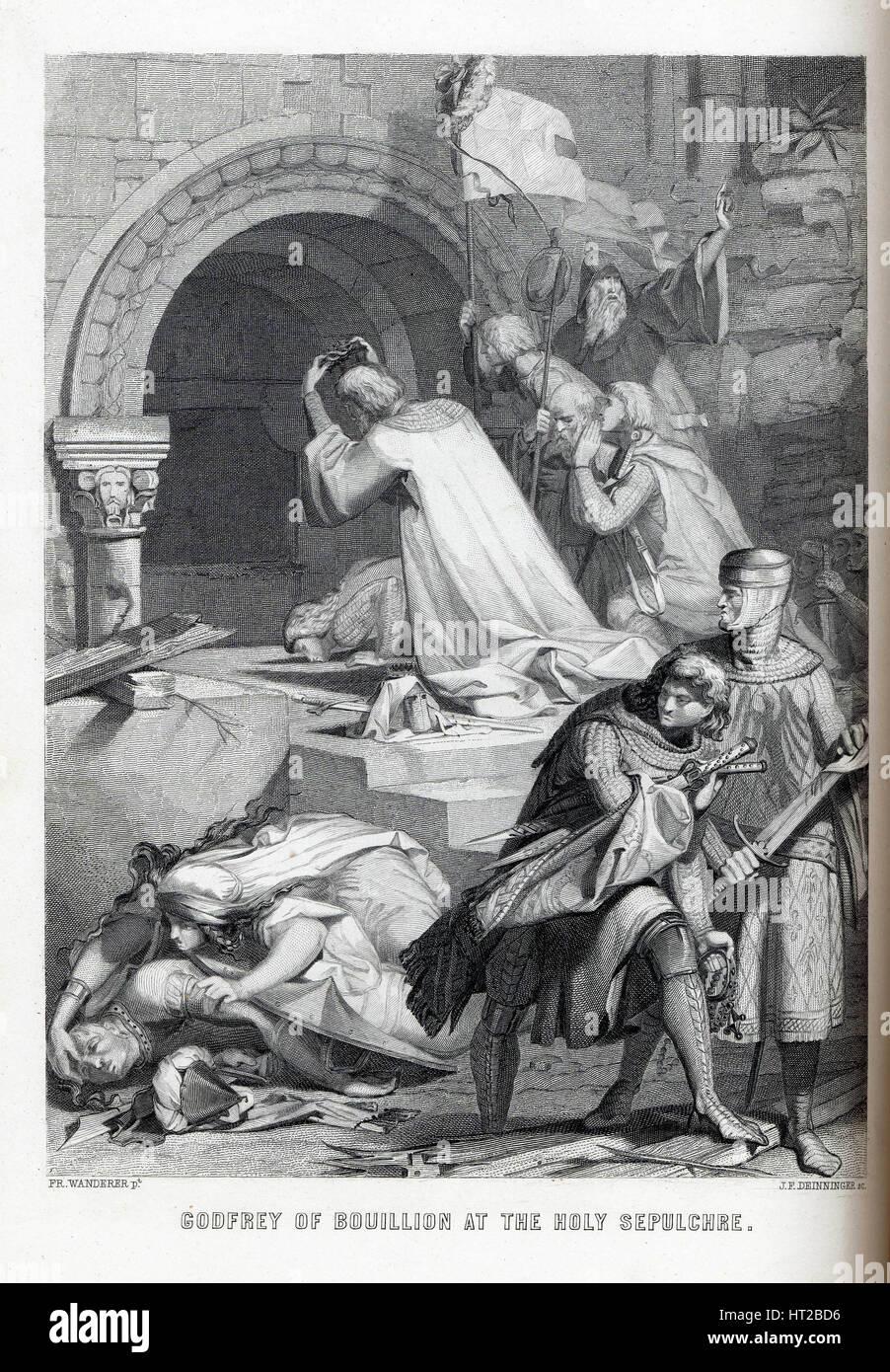 Godfrey of Bouillon at the Holy Sepulchre, 1882. Artist: Deininger, Jacob Friedrich (1836-1880s) - Stock Image