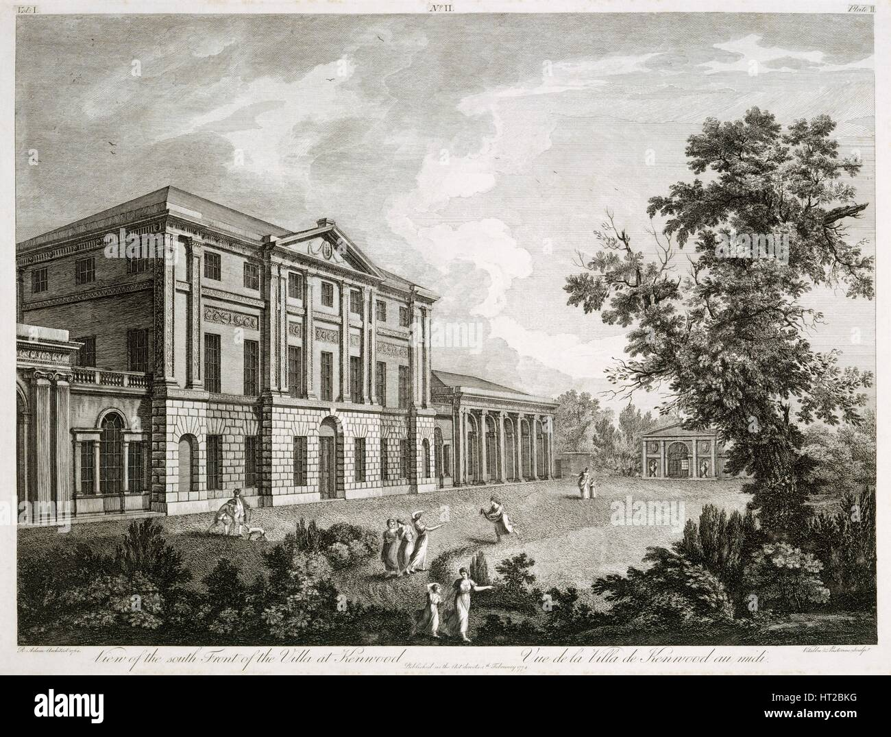 'View of the South Front of the Villa at Kenwood', late 18th or early 19th century. Artists: Giovanni Vitalba, - Stock Image
