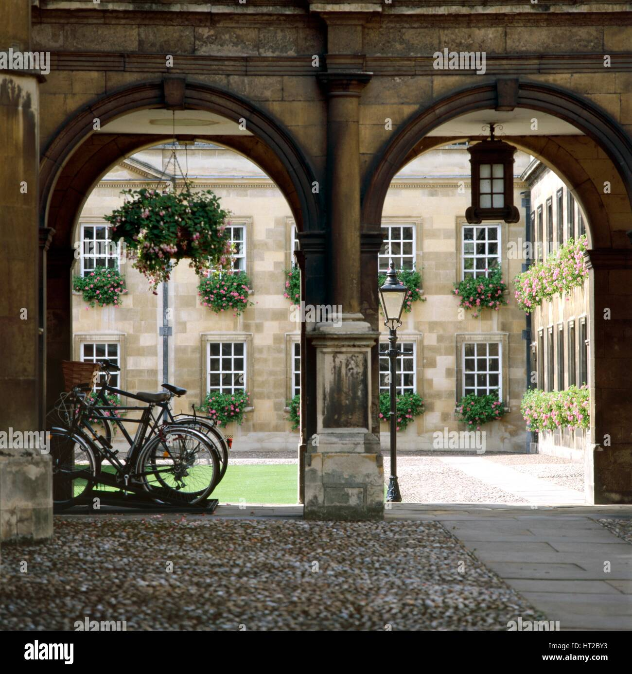 View of the arcade with bicycles, Peterhouse College, Cambridge, Cambridgeshire, c2000s(?). Artist: Unknown. - Stock Image