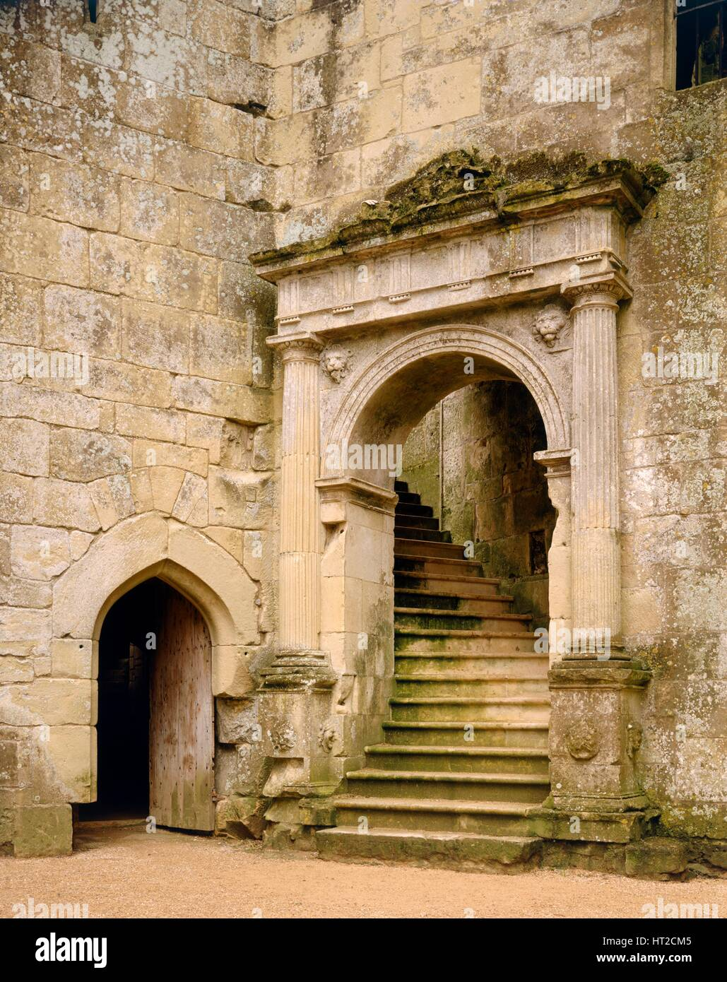 Grand stairway to the hall, Old Wardour Castle, near Tisbury, Wiltshire, c2000s(?). Artist: Unknown. - Stock Image