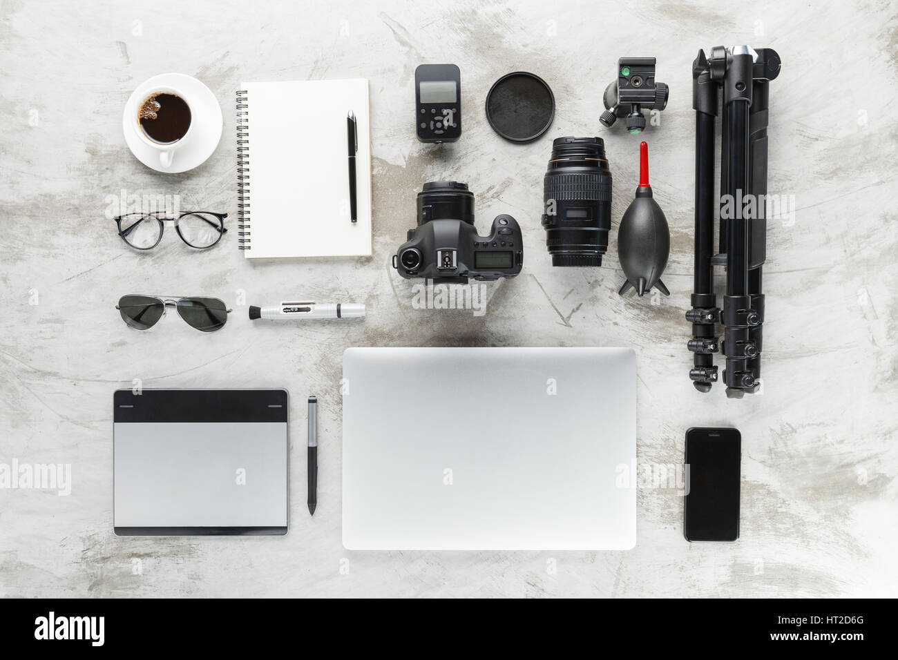 Exceptional Photography Accessories On Work Table Top View