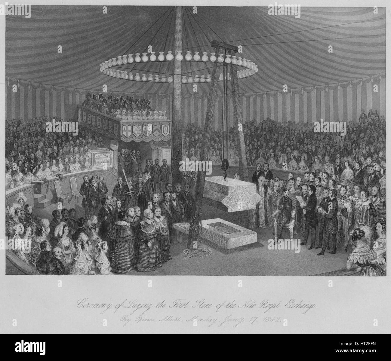 'Ceremony of Laying the First Stone of the New Royal Exchange', c1842. Artist: Henry Melville. - Stock Image