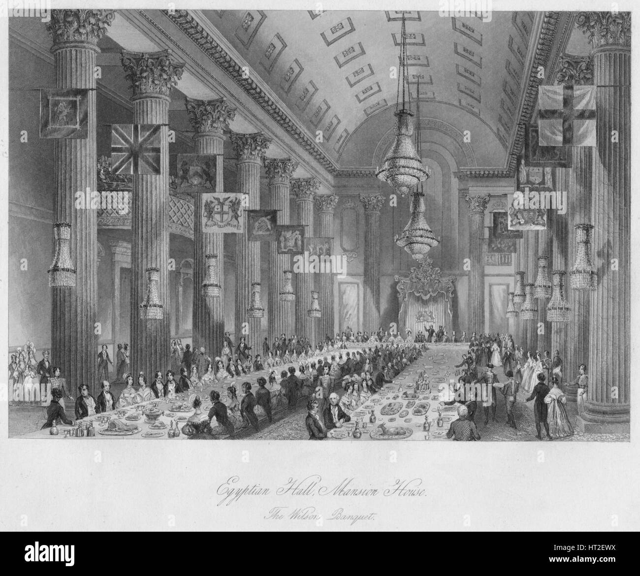 'Egyptian Hall, Mansion House: The Wilson Banquet', c1841. Artist: Henry Melville. - Stock Image
