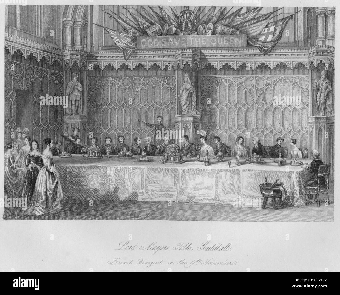 'Lord Mayors Table, Guildhall. Grand Banquet on the 9th November', c1841. Artist: John Shury. - Stock Image