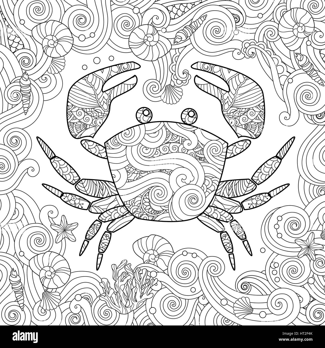 Coloring Page Ornate Crab Isolated On White Background