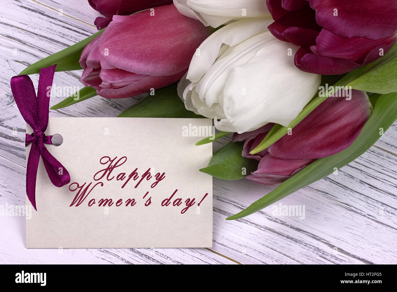 Purple and white tulips with white paper on a white wooden background and card lettering happy women's day english. - Stock Image