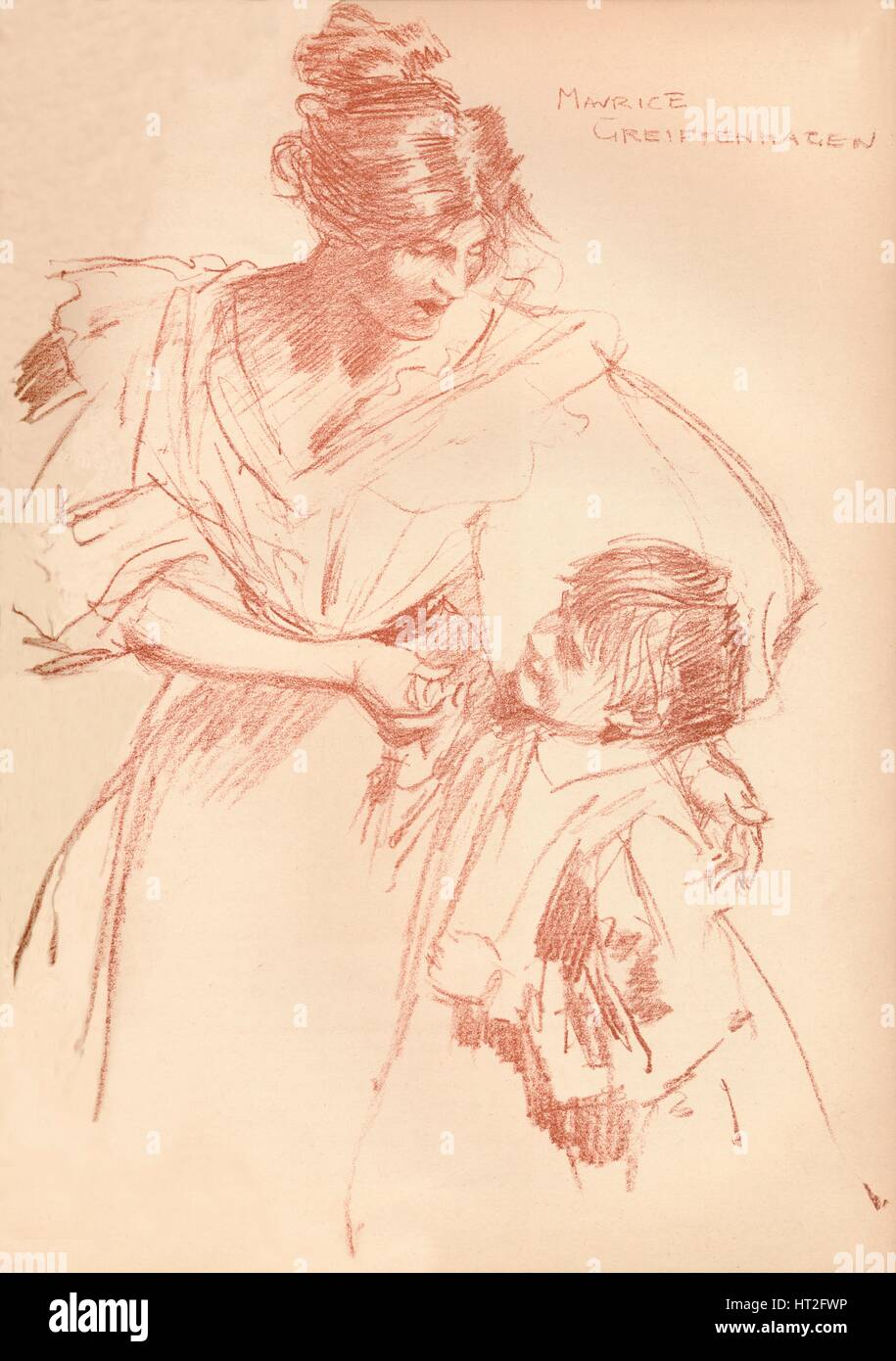 'Mother and child', c1897, (1897). Artist: Maurice Greiffenhagen. - Stock Image