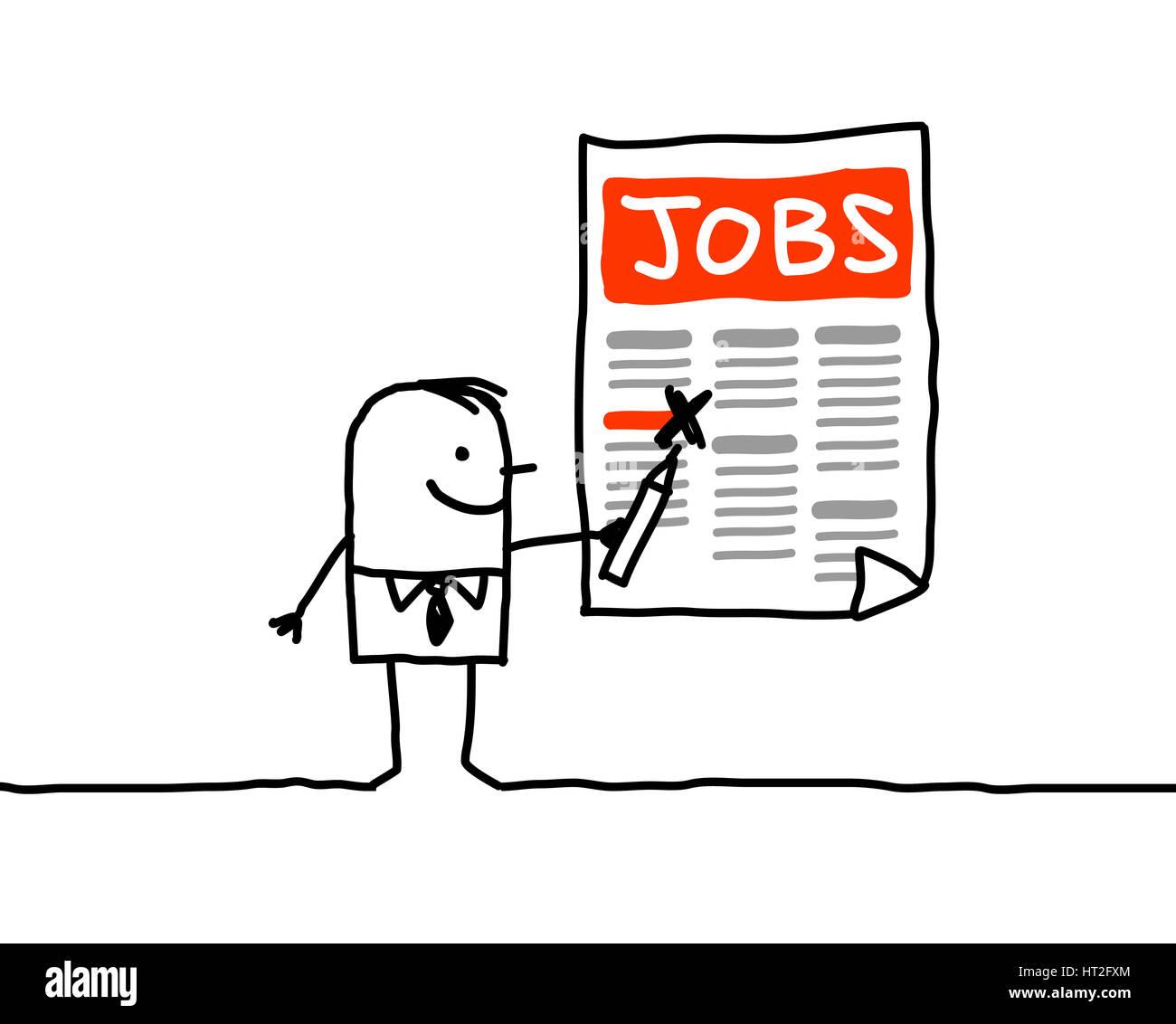 Cartoon Characters Man Looking For A Job Stock Photo 135280732