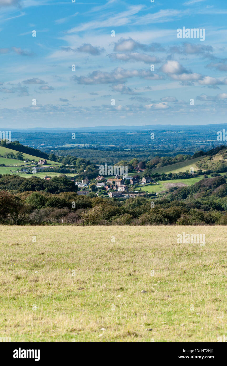 Towards the villages of Clayton and Ditching from the top of the South Downs above Brighton. - Stock Image