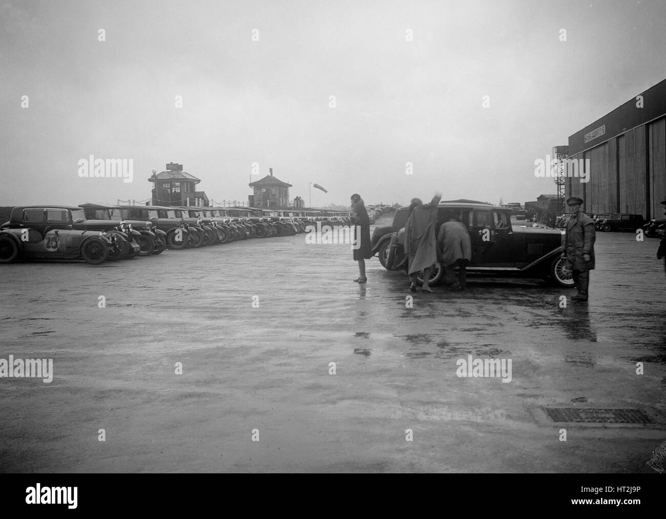 Cars at the Riley Motor Club Rally, Croydon Aerodrome, 25 April 1931. Artist: Bill Brunell. - Stock Image
