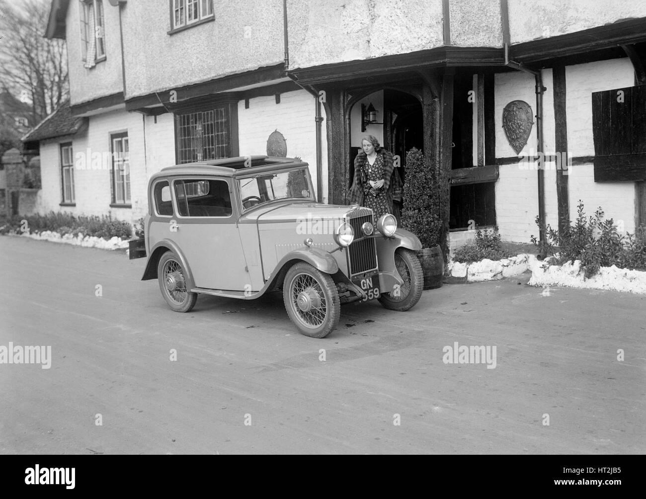 Road testing a Triumph Scorpion, 1931. Artist: Bill Brunell. - Stock Image
