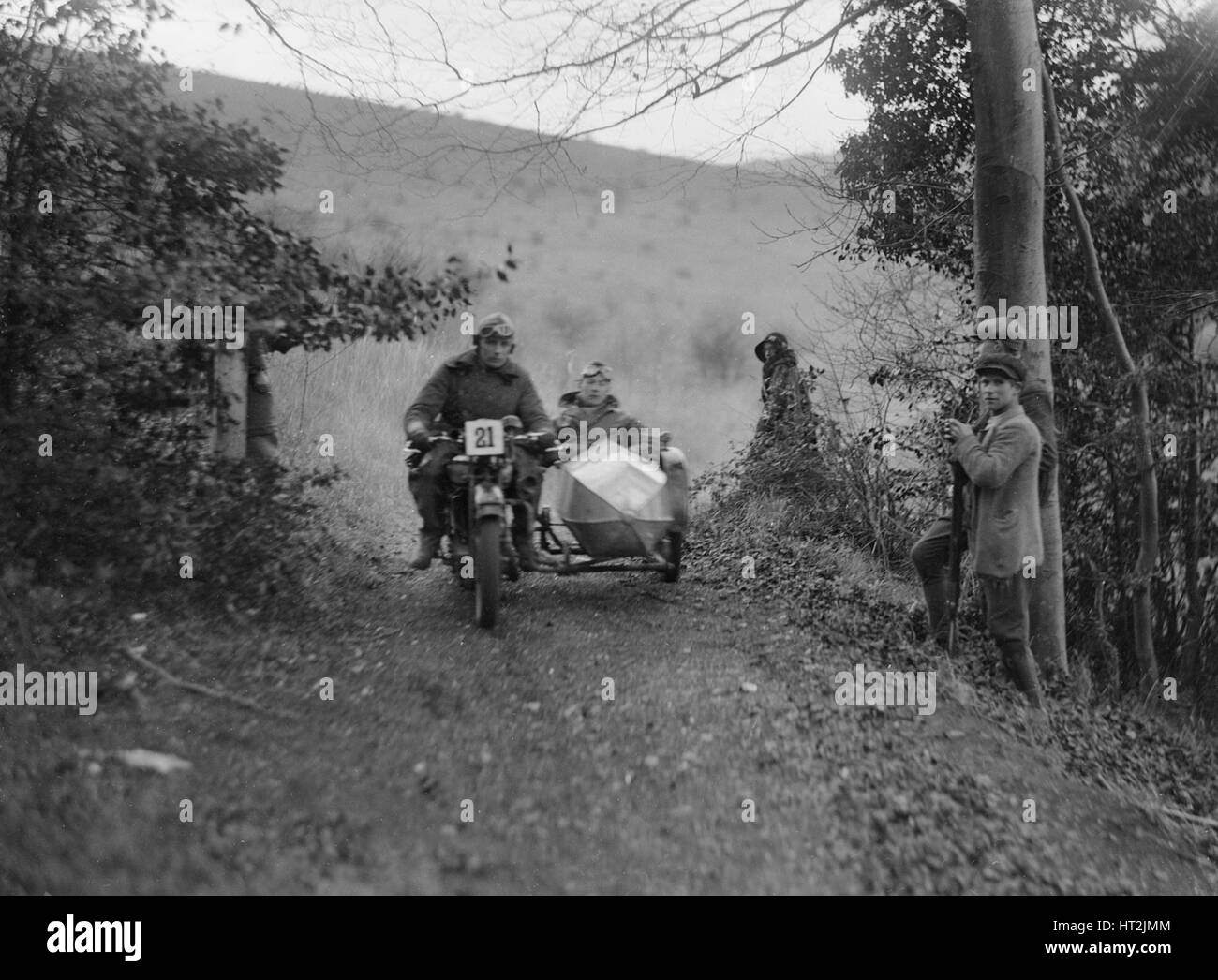 Motorcycle and sidecar competing in a motoring trial