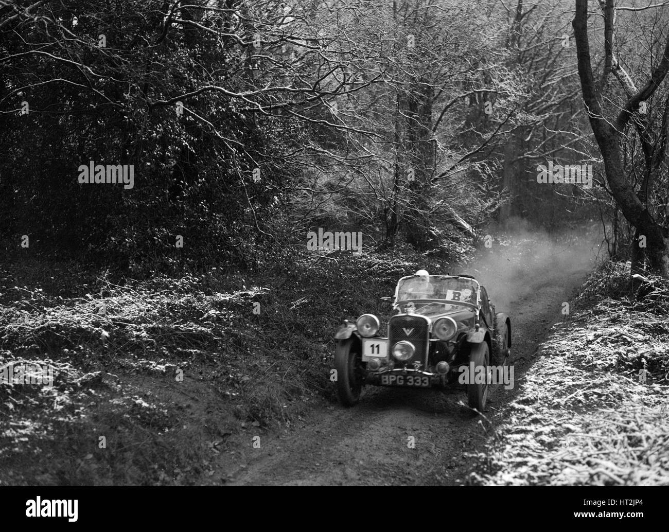 1934 Singer Le Mans taking part in a motoring trial, late 1930s. Artist: Bill Brunell. - Stock Image