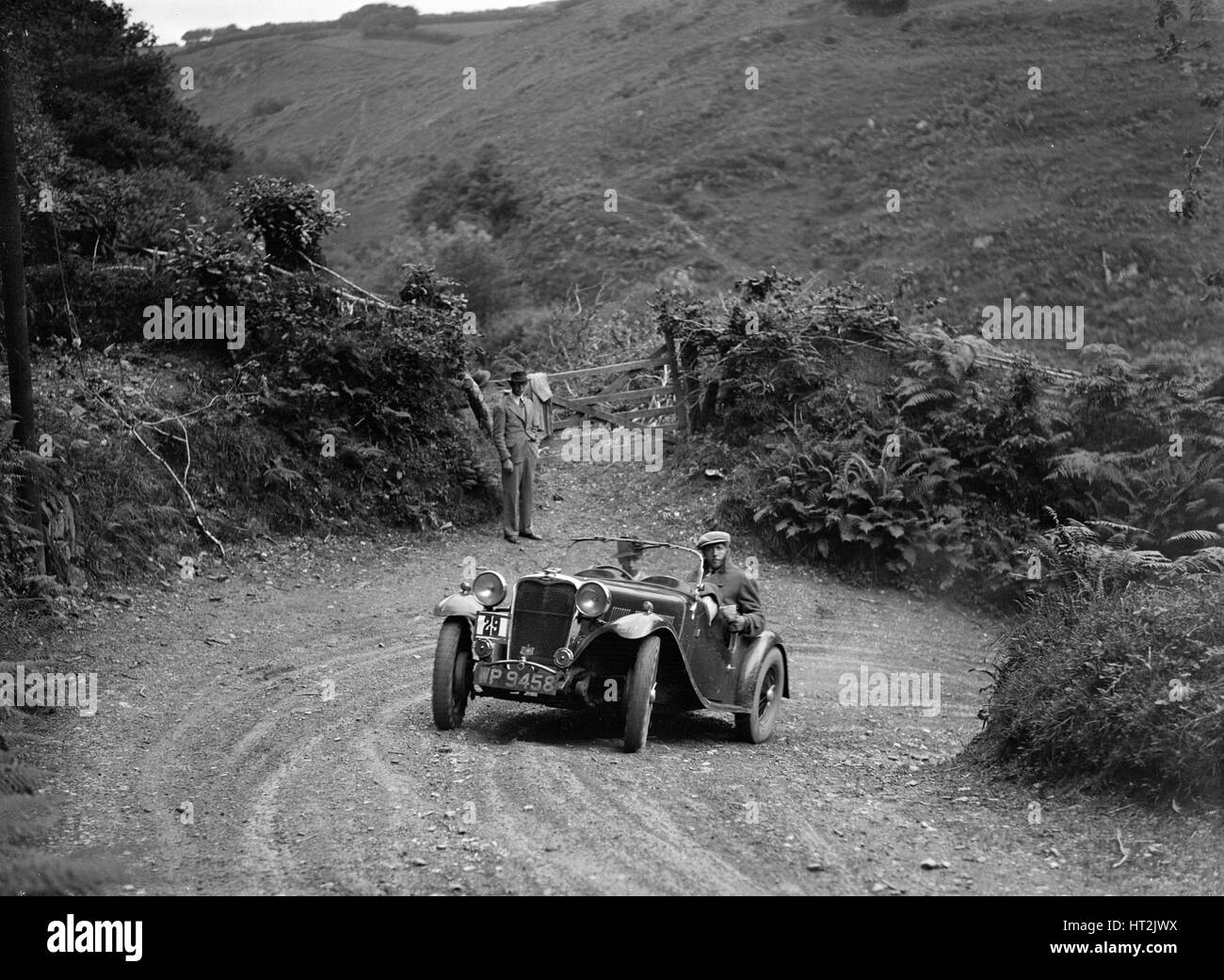 1935 Singer Le Mans 2-seater taking part in a motoring trial, late 1930s. Artist: Bill Brunell. - Stock Image