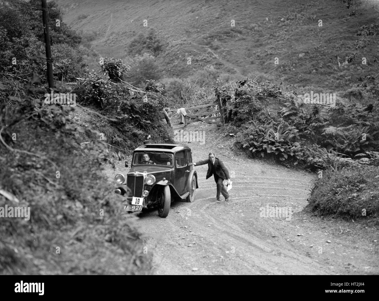 MG Magnette taking part in a motoring trial, late 1930s. Artist: Bill Brunell. - Stock Image