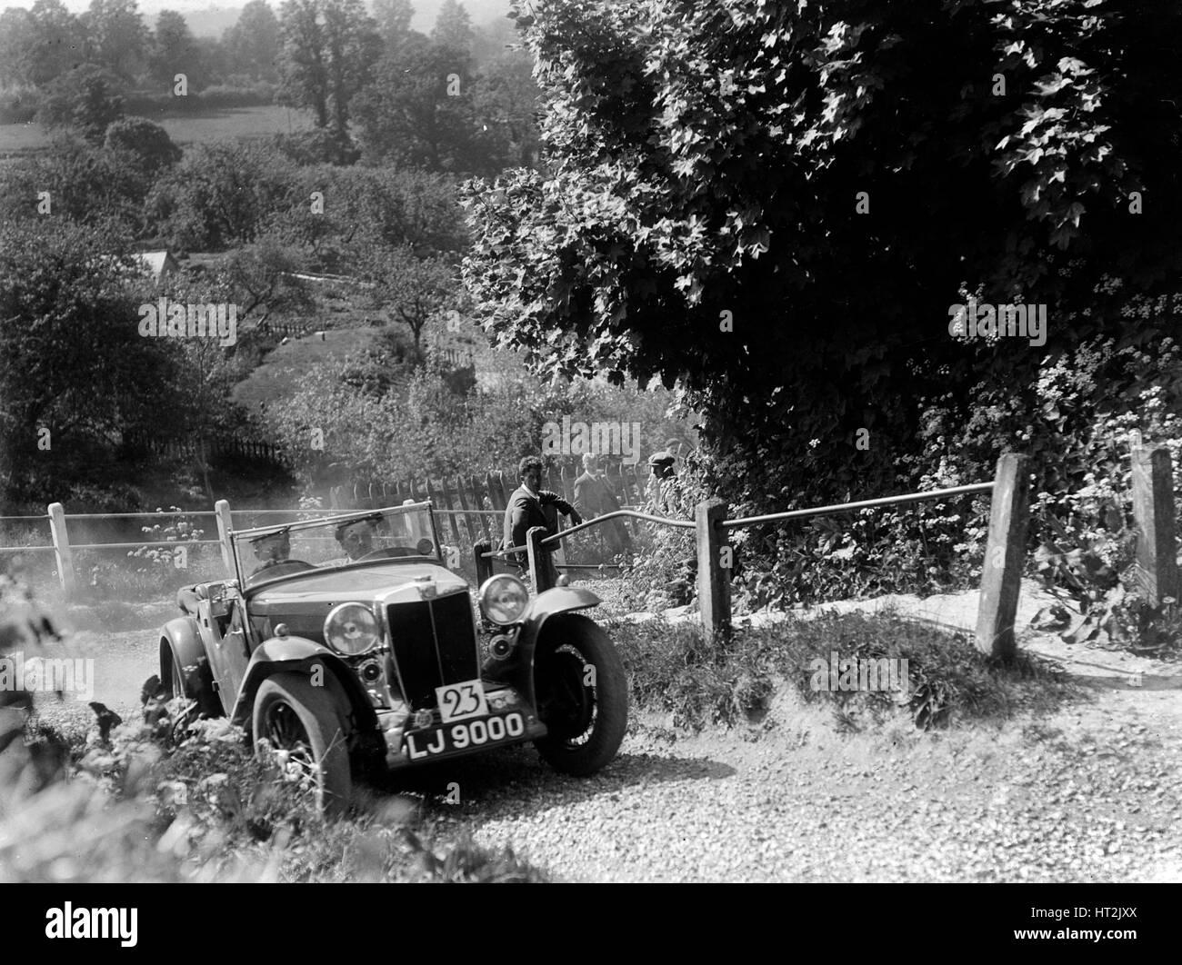 1934 MG Magnette taking part in a West Hants Light Car Club Trial, Ibberton Hill, Dorset, 1930s. Artist: Bill Brunell. - Stock Image