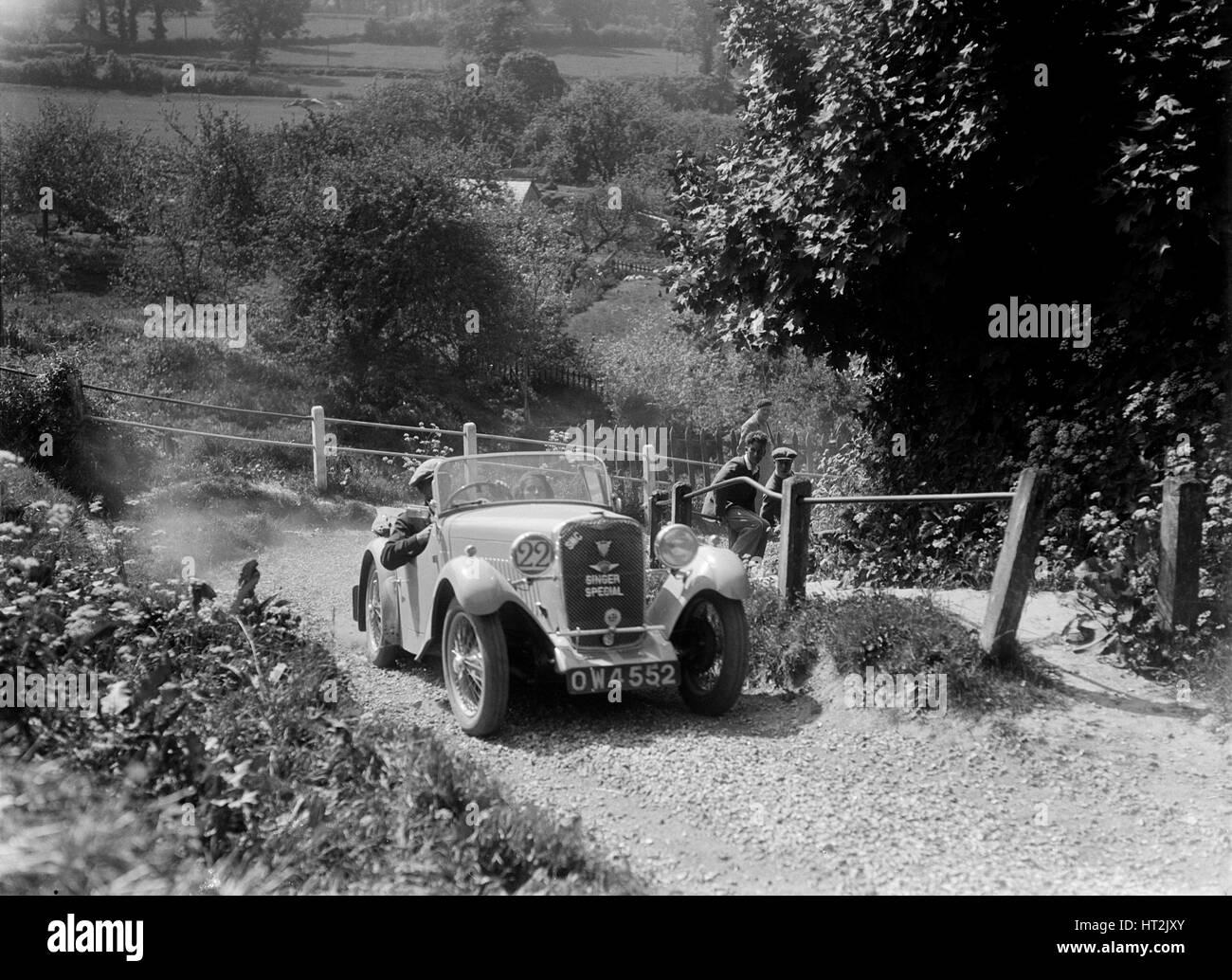 1934 Singer Le Mans taking part in a West Hants Light Car Club Trial, Ibberton Hill, Dorset, 1930s. Artist: Bill - Stock Image