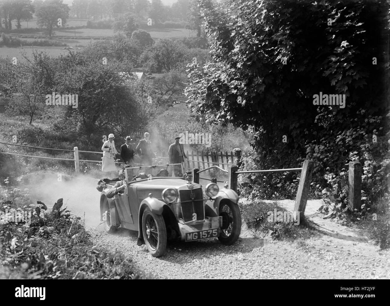 MG Magna taking part in a West Hants Light Car Club Trial, Ibberton Hill, Dorset, 1930s. Artist: Bill Brunell. - Stock Image