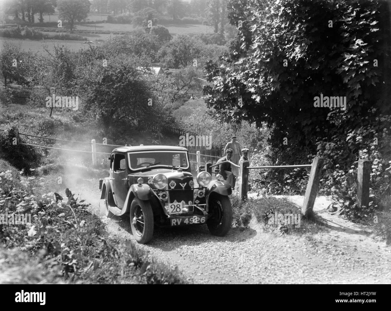1934 Riley Kestrel taking part in a West Hants Light Car Club Trial, Ibberton Hill, Dorset, 1930s. Artist: Bill - Stock Image