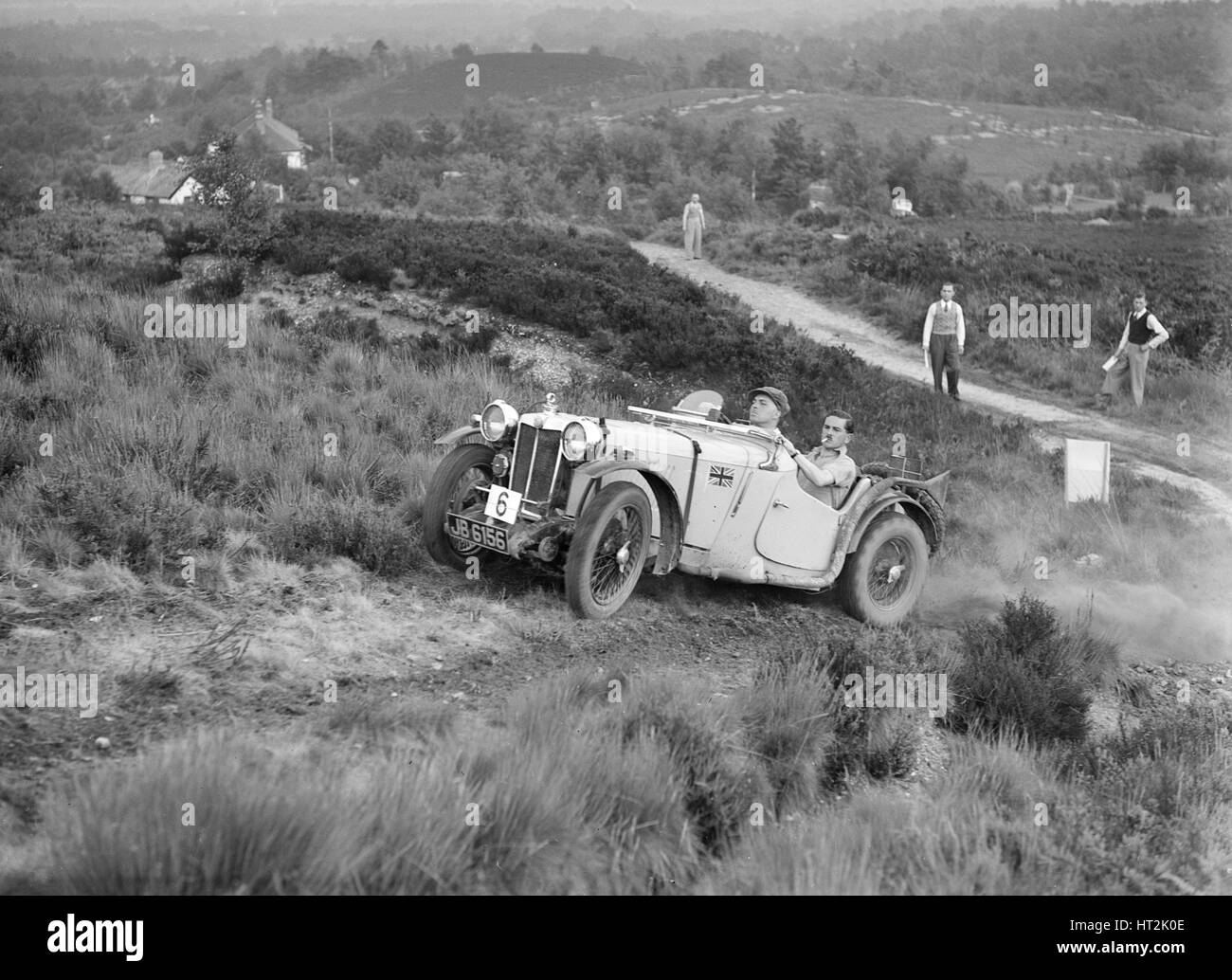 1935 MG PA of RM Andrews taking part in the NWLMC Lawrence Cup Trial, 1937. Artist: Bill Brunell. - Stock Image