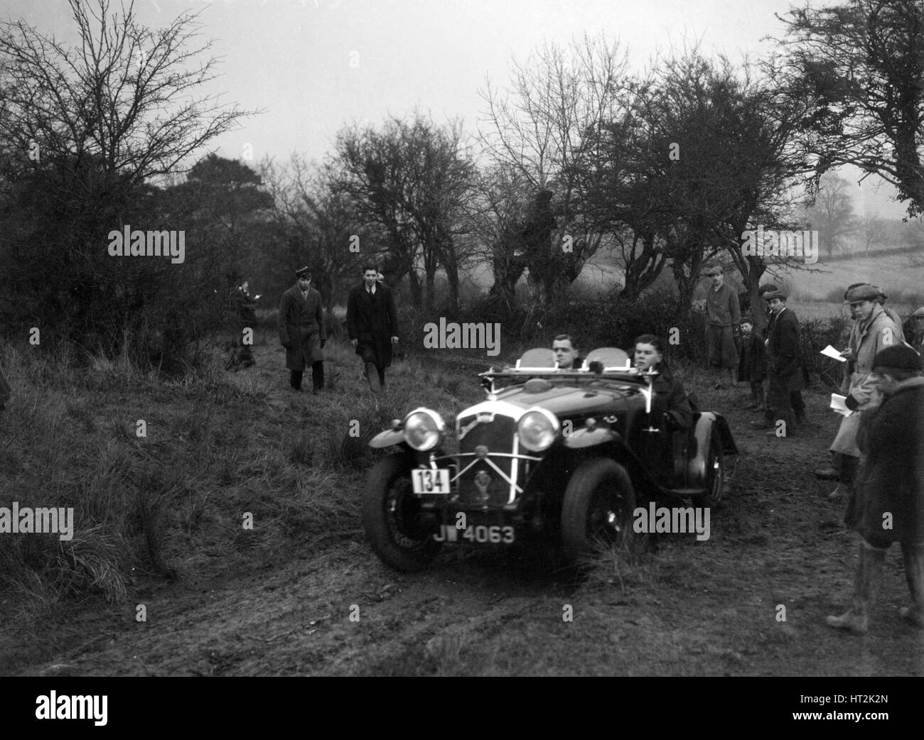 Wolseley Hornet of HK Crawford at the Sunbac Colmore Trial, near Winchcombe, Gloucestershire, 1934. Artist: Bill - Stock Image